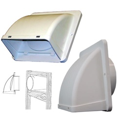 "White Dryer Exhaust Vent/Hood for 4"" Ducting Primex DV401"