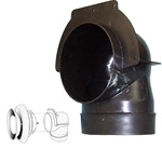 "Black, plastic ""squeeze"" 90 degree elbow for 4"" ducting with mounting flange"
