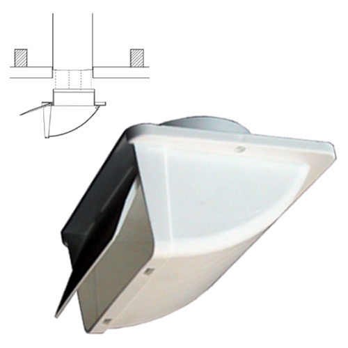 White Soffit Vent For 4 Ducting With Backdraft Damper